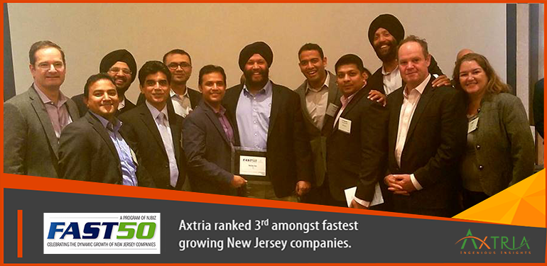 Axtria ranks 3rd on New Jersey's 50 Fastest Growing Companies (2016) by NJBIZ